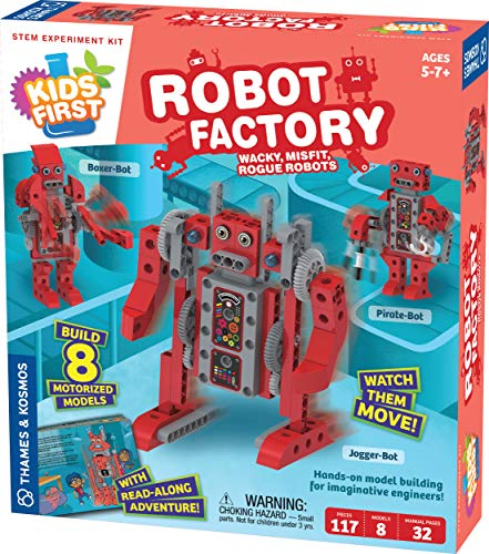 Thames & Kosmos Kids First Robot Factory: Wacky, Misfit, Rogue Robots STEM Experiment Kit | Hands-on Model Building for Young Engineers | Build 8 Motorized Robots | Play & Learn with Storybook Manual