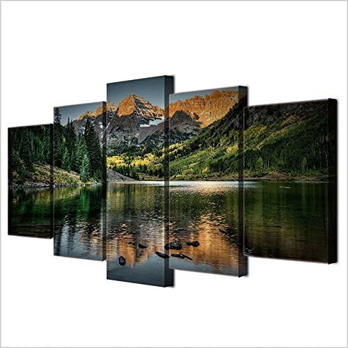 GSDFSD So Crazy Art - MAJESTICAS MONTAÑAS Lago Naturaleza Decoracion De Pared 5 Piezas Modernos Mural Fotos para