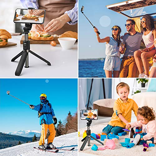 Bluetooth Selfie Stick Tripod for Phone and Camera qubo ST-01 – Extendable Cell Phone Tripod Stand with Wireless Remote Compatible iPhone/Android - Mini Tripod for Camera, GoPro