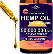Hemp Oil Extract 50 000 000mg Immune System Support, Pain, Insomnia, Stress, Anxiety Relief, Natural Dietary Supplement, Premium Quality, Improve Health, Provides Relaxation, Deep Sleep, Mood Boost