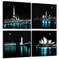 Wall Decor for Bedroom The Night View of Paris Eiffel Tower New York Manhattan London Big Ben Tower Sydney Opera House Black and White Gallery-Wrapped Canvas Wall Art Cityscape Kitchen Wall Decor
