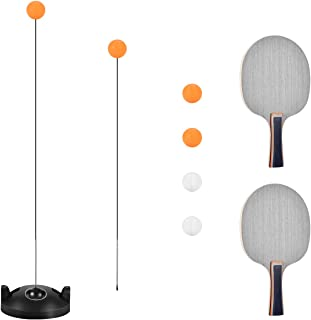 Table Tennis Trainer with Elastic Soft Shaft, Leisure Decompression Sports 2 Table Tennis Paddle & 4 Ping Pong Balls, Set Table Tennis Trainer Indoor or Outdoor Play