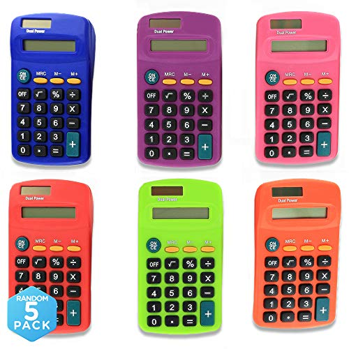 Emraw Pocket Size Calculator 8 Digit, Dual Power, Large LCD Display, School Student Desktop Accounting Office Calculators (Pack of 5)