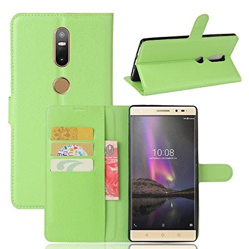 Qiaogle Teléfono Case - Funda de PU Cuero Billetera Clamshell Carcasa Cover para Lenovo Phab 2 Plus (6.4 Pulgadas) - FC07 / Verde Estilo