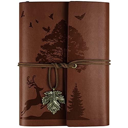 Leder Notizbuch Tagebuch, Nachfüllbar Vintage Liniert Reisetagebuch Personalisiert, Ringbuch Tagebuch Für Erwachsene A5 16.5 cm x 23.4cm (Braun)