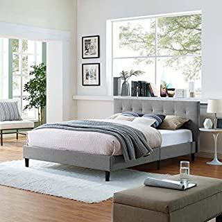 Modway Linnea Upholstered Light Gray Platform Bed with Wood Slat Support in Full