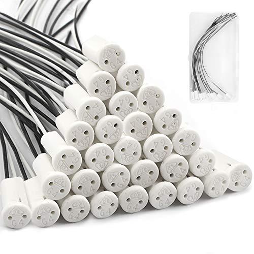 Yangfei 30 Stück G4 Lampenfassung Sockel mit Keramik Halter für G4 Lampen Heimbedarf Halogen Fassung