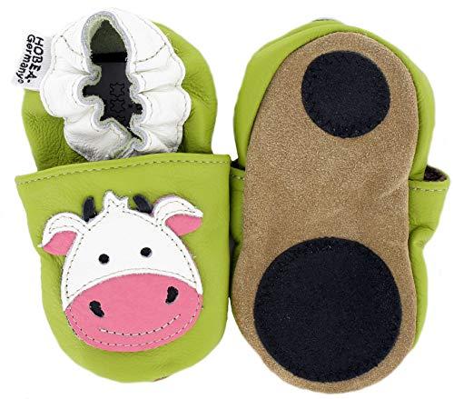 HOBEA-Germany Baby Lauflernschuhe Tiermotiv mit Anti-Rutsch-Sohle, Kinder Hausschuhe Mädchen & Jungen, Lederschuhe Baby (Kuh, Numeric_18)
