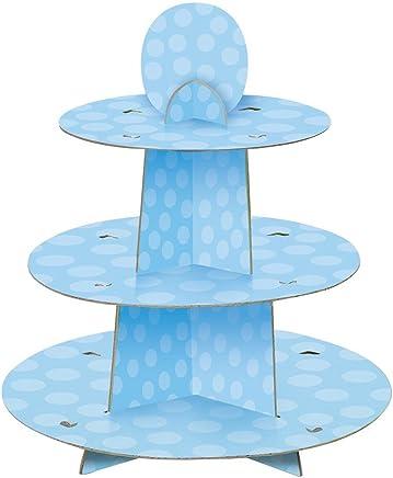 Unique Party 90399 - Présentoir à Cupcakes de Baby Shower à Pois Bleu