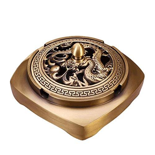 FBDGNG Cenicero de latón con tapa para uso en interiores y exteriores, bandeja cuadrada para cenizas de cigarrillos, soporte para decoración de mesa, latón (color C: C), B