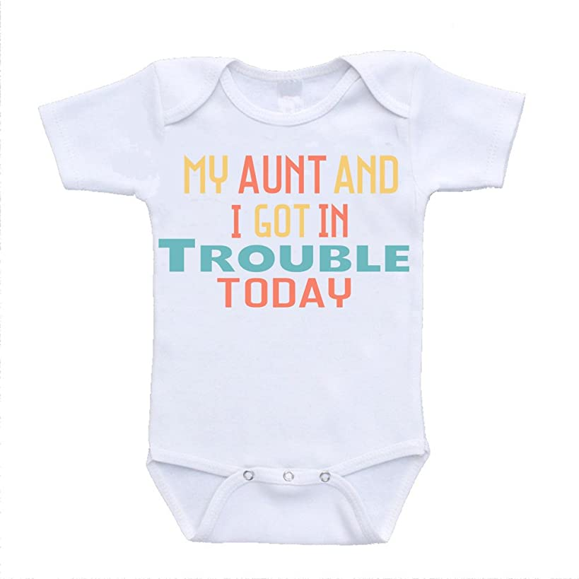 My Aunt and I Got In Trouble Today I Love My Auntie Onesie Baby Bodysuit Rompers One Piece Online Clothing Shopping (18 Months)