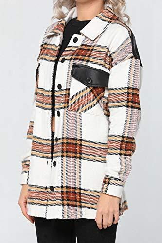 Camisa Invierno Otoño Primavera Camisas de Mujer Trajes de algodón a Cuadros Traje Moda cálida Elegante Aplicar a la Fiesta Vacaciones Trabajo Diario Etc-L_Style_Camel