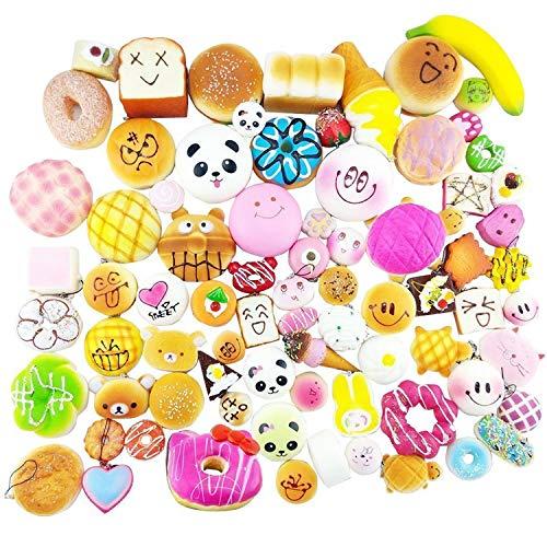Morbidi accessori alla moda utilizzabili come ciondoli, anelli portachiavi, decorazioni per cellulare, a forma di panda, alimenti, pane, torta, assortimento casuale, 30 pezzi