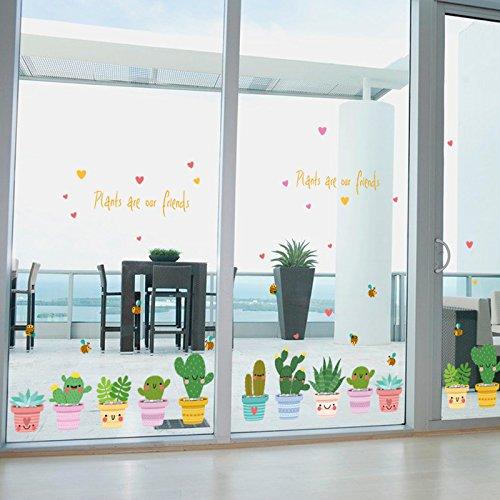 Etiqueta De Cristal Pegatina Pared Pegar Balcón Cocina Tienda De Puertas Correderas Decorada Con Lindo Planta Cactus Pequeño Viento Pastoral Fresco