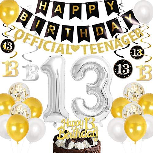 Kreatwow Decoraciones oficiales de cumpleaños para adolescentes para niños, niñas, oro negro con banner oficial para adolescentes, remolino colgante, 13 globos de aluminio