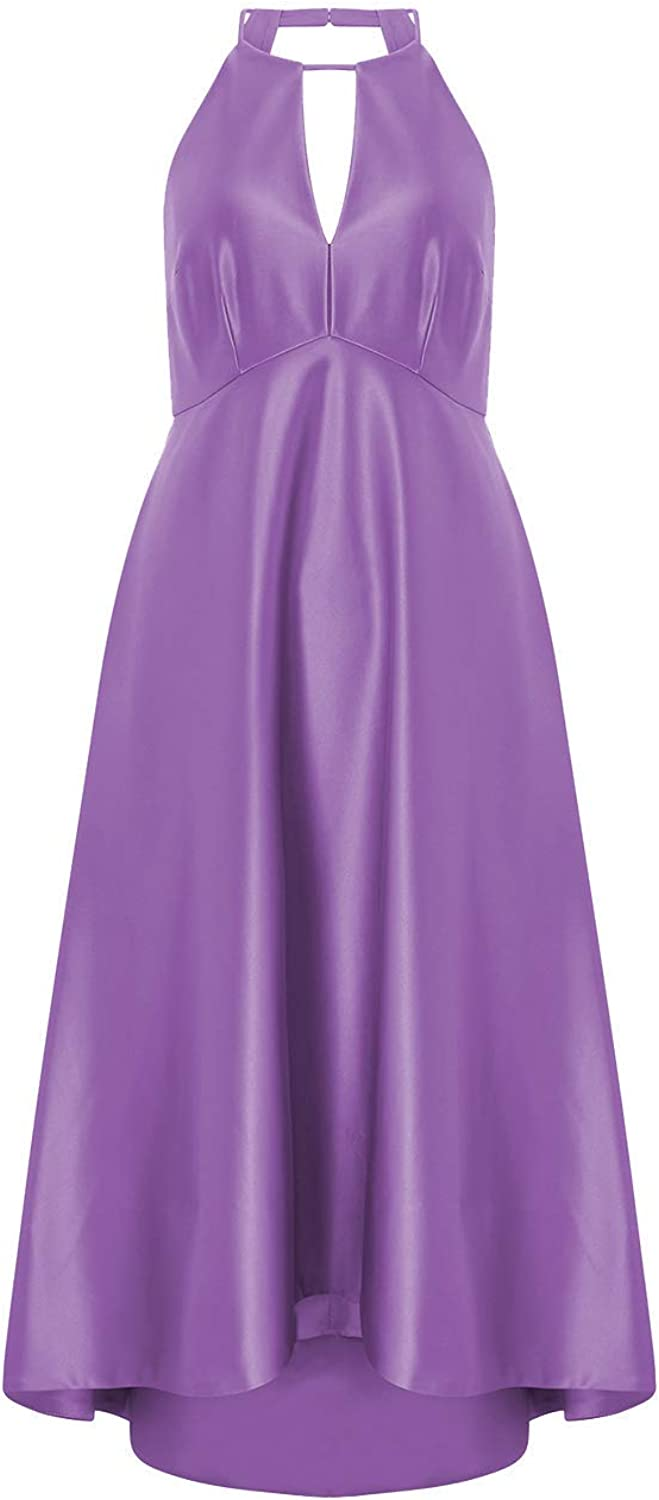 Cdress High Low Prom Dresses Short Cocktail Homecoming Dress Halter Formal Evening Gowns Satin HiLo