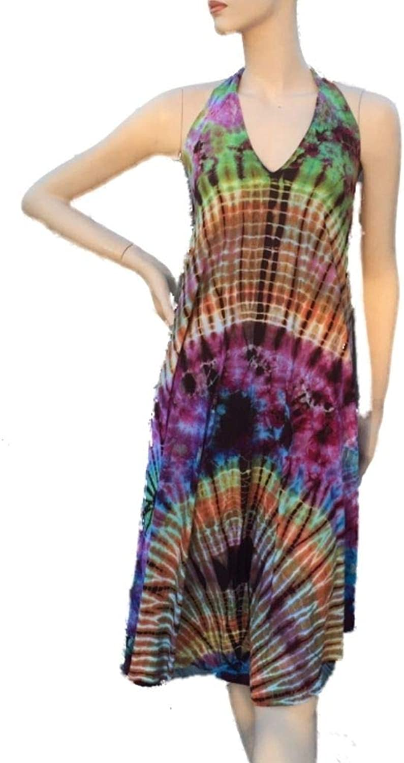 Kathmandu imports Halter Tie Dyed Backless Dress Beach Cover Up, Free Size