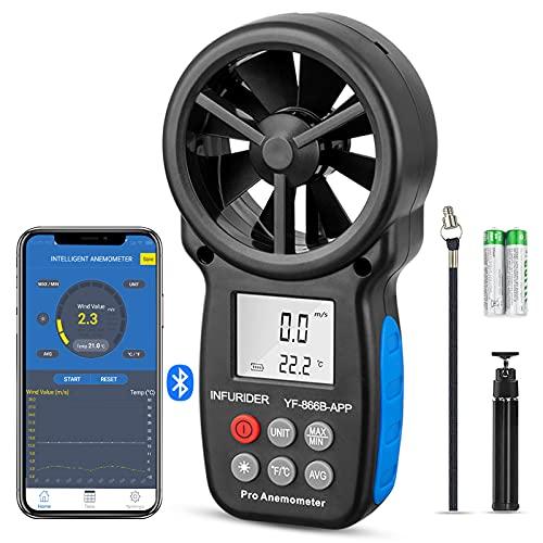 INFURIDER Windmesser Windmessgerät YF-866B-APP Bluetooth Digital Anemometer Air Flow Geschwindigkeit Messen Thermometer mit Hintergrundbeleuchtung