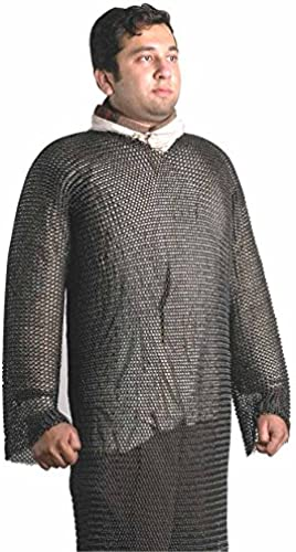 Mittelalter Kettenhemd aus Aluminium-Kettenringen   127cm maximaler Brustumfang   Hauberk-Schnitt (lang elig, knielang)   8mm Kettenringe mit Größer Anodisierung   Get Dressed for Battle