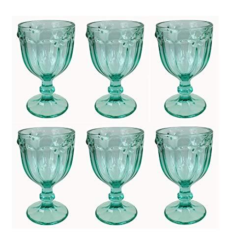 Vintage 6 Teile Set Schmetterlinge König Weinglas Glas Gläser Weingläser Wasserglas Longdrinkglas (Turkis)