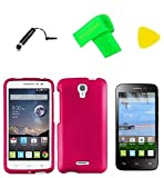 Hard Snap On Cover Phone Case + Screen Protector + Extreme Band + Stylus Pen + Pry Tool for Alcatel onetouch Pop Astro 5042T / Pixi Charm A450TL (Pink)