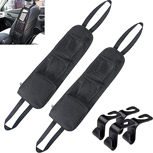 2 organizadores para el asiento del coche, organizador para el coche, plegable, bolsa de almacenamiento para el coche, soporte para teléfono móvil, cable de datos