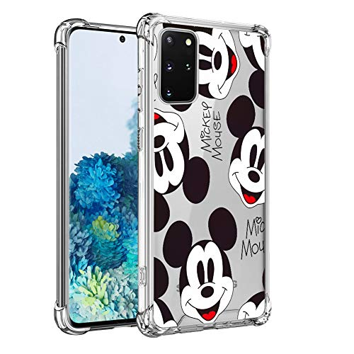 DISNEY COLLECTION Clear Case for Samsung Galaxy S20 Plus 5G 6.7 inch, Mickey Mouse Wallpaper Pattern Drop Proof Full Protective Cover with 4 Airbags at Corners Slim Cover for Galaxy S20+