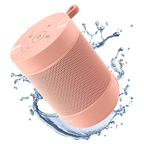 Portable Bluetooth Speaker, COMISO Small Wireless Shower Speaker 360 HD Loud Sound Stereo Pairing Waterproof Mini Pocket Size Built in Mic Support TF Card for Travel Outdoors Home Office Pink