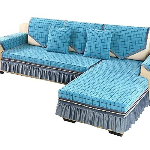 KIKIGO Copridivano con Penisola a Sinistra/Destra,Fodere per Divano Pezzo per Cuscino Fodere per divani per Soggiorno Fodere per mobili per Divano,Green,3 People Small