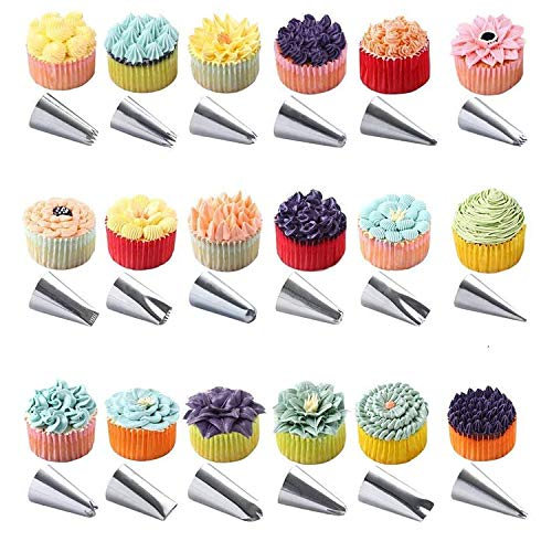 56 PCS Stainless Steel Icing Tips Pastry Tool for All Cakes, Lava...