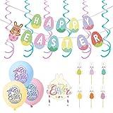 PRETYZOOM 50 Unids/Set Feliz Pascua Banner Huevo de Pascua Colgando Remolinos Látex Pascua Globos Conejito Pastel de Cumpleaños Decoración del Partido de Pascua