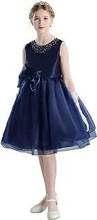 ドリーム企画 子供ドレス 発表会 d-005 パニエ内蔵 紺 大きなリボン 上質なオーガンジー素材5枚重ねドレス