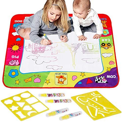 Anpro Wasser doodle Zeichnung Matte, 4 Wasser Stifte mit 2 Zeichnungsvorlagen, Wasser Malmatte für baby kinder, 80×60cm, EINWEG