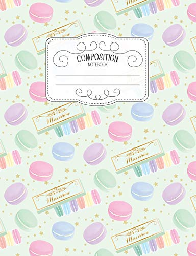 Composition Notebook: Kawaii College Ruled Narrow Line Comp Books for School - Rainbow Mint Macarons (Pastel Cute Journals for Students)