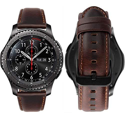 MroTech Correa Compatible con Huawei Watch GT 2/GT 46mm Sport/Classic/Active/GT2 Pro/GT 2e Pulsera Cuero Repuesto para Samsung Gear S3 Frontier/Galaxy Watch 46mm/Watch3 45mm Banda 22mm-Classic Café