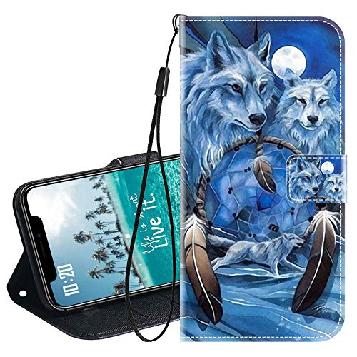 vingarshern Klapphüllen für DOOGEE BL12000 Schutzhülle Mit Magnetverschluss Flip Etui Lederhülle Handytasche Doogee BL12000 Hülle Klappbares Leder Brieftasche,Wolf Muster-2