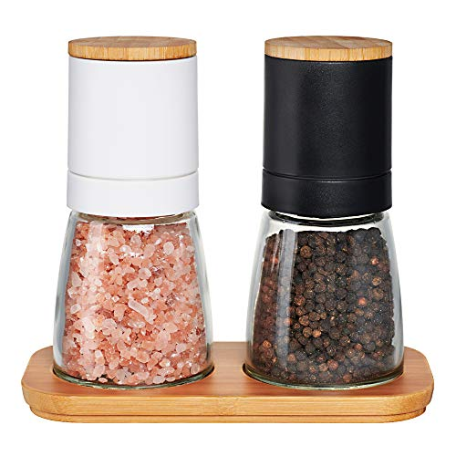 Traycon Salt And Pepper Grinder Set (2 Pc.), Black And White Cap With Wooden Lid, Glass Base/Kitchen, Dining Room Accessory/For Spices, Himalayan Pink Salt, Peppercorn/With Bonus Wooden Stand
