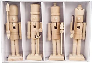 Ruipunuosi 4/Pcs Nutcracker Figurines Wooden Unpainted Doll DIY Blank Paint Toy for Christmas Decorations Doll Ornaments Toys