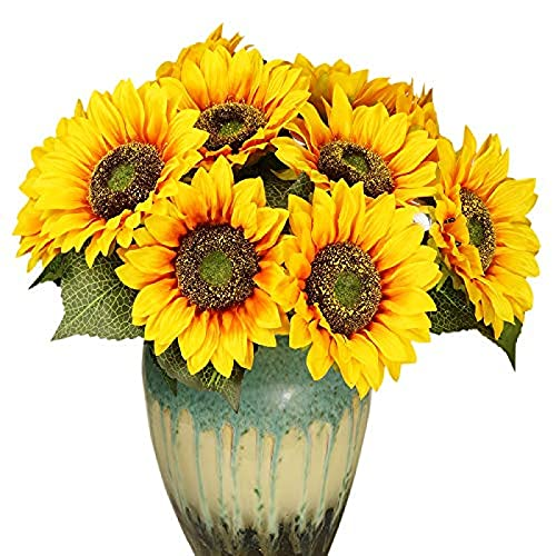 YYHMKB Flores de Sol Artificiales, Plantas Falsas Flores de plástico Flor de Seda Boda Hogar Jardín Fiesta Plantas de Oficina al Aire Libre 2 racimos