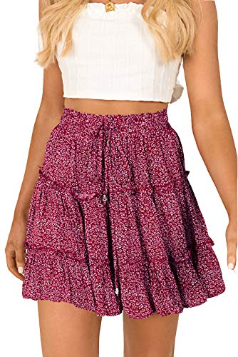 Alelly Women's Summer Cute High Waist Ruffle Skirt Floral Print Swing Beach Mini Skirt Burgundy