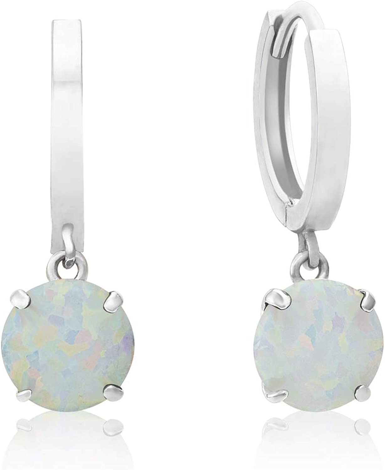 Solid Limited time for free shipping 10K Yellow or White Gold Dangle Huggie Hoop Earrings 6mm Max 76% OFF