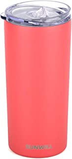 SUNWILL Tumbler Skinny Travel Tumbler with Lid, Vacuum Insulated Double Wall Stainless Steel 14oz for Coffee, Tea, Beverages, Powder Coated Coral