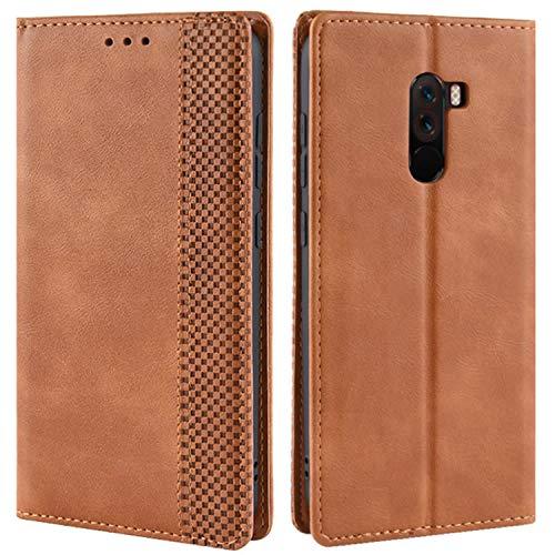 HualuBro Handyhülle für Xiaomi Pocophone F1 Hülle, Retro Leder Brieftasche Tasche Schutzhülle Handytasche LederHülle Flip Hülle Cover für Xiaomi Pocophone F1 - Braun