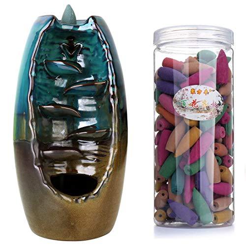 Rückfluss-Räuchergefäß, Räucherkegelhalter mit 10 Räucherkegeln, chinesische Keramik, Heimdekoration
