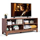 Giantex TV Stand Console Table Cabinet for 60' TV, Large Storage for Living Recreation Room W/ 4 Open Shelves,Feet and Cable Management System, Rustic Wood Style Television Stands Tables(Wood Grain)