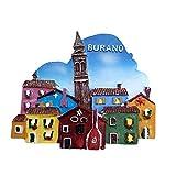 Burano Venecia Italia Imán para nevera 3D de recuerdo turístico regalo para el hogar o la cocina decoración magnética Burano Venecia colección de imanes