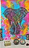 Craft works Buntes Tapisserie-Set, Elefant, Wandbehang, Wandbehang, Bohemian-Tagesdecke, Indisches Deko, Bettüberwurf (82 x 137 cm), inkl. Buch & Klettband