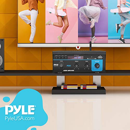 Pyle Home Audio Power Amplifier System - 2X40W Mini Portable Dual Channel Surround Sound Stereo Receiver Box w/LED - For Amplified Subwoofer Speakers, CD DVD Player, Theater Via 3.5mm RCA PCA2