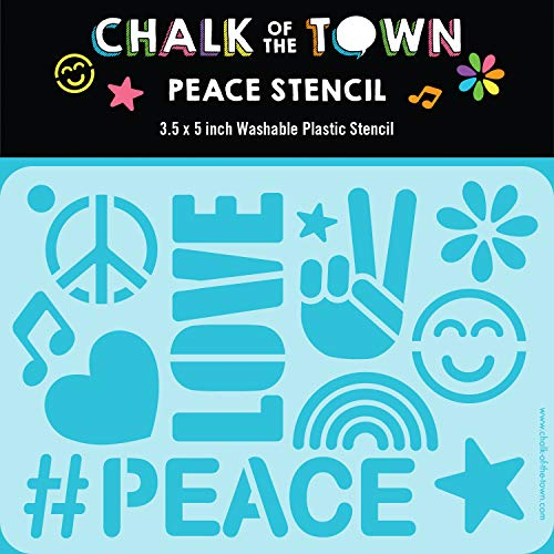 Chalk of the Town Peace & Love Themed Plastic Stencil for Kids