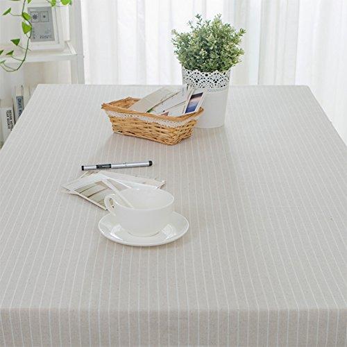Bbdsj Moderne einfache tischdecke,Home tischdecke,Japanischer Stil Stoff Baumwolle leinen Gestreift Tv teilweise Tischtuch Sitzung Hotel tischdecke 4 Farben - Weißer Reis 120x180cm(47x71inch)